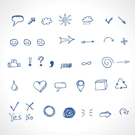 bubble pen: hand drawing icons vector set