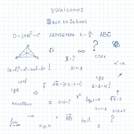 arithmetic: leaf out of school notebook. vector background