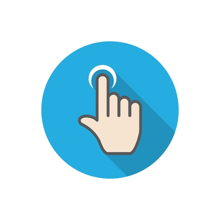 click here icon: touch. flat hand icon pointer.