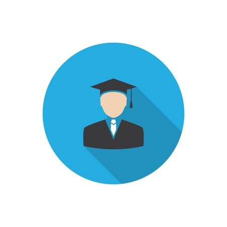 undergraduate: graduated. flat design icon with long shadow. vector. eps10