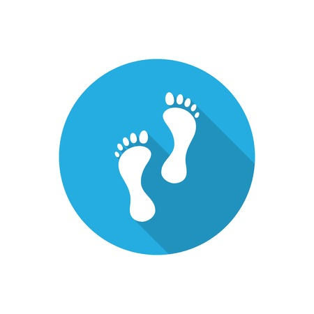 and barefoot:  flat icon with long shadow.