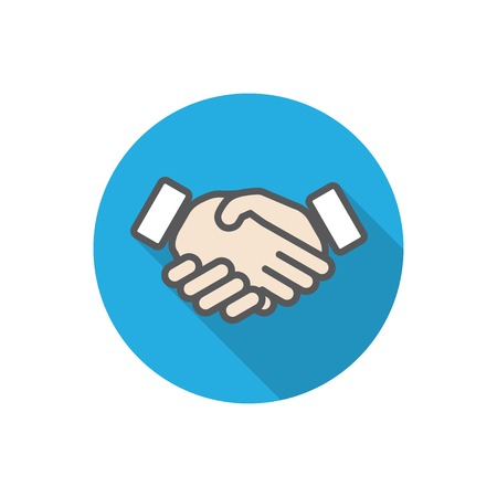 flat icon of hands with long shadow.  Vector