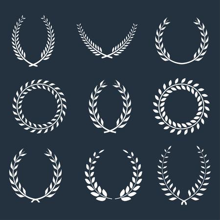 set of laurel wreaths.  Vector