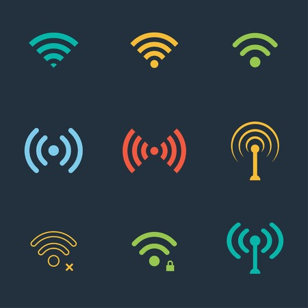 digital illustration: collection of color flat wifi icons. vector