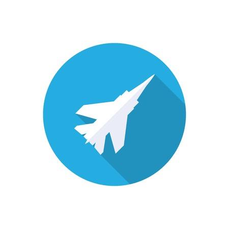 avion de chasse: avion de chasse icône plat avec ombre. Illustration