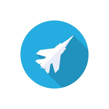 jet fighter: fighter plane flat icon with long shadow.