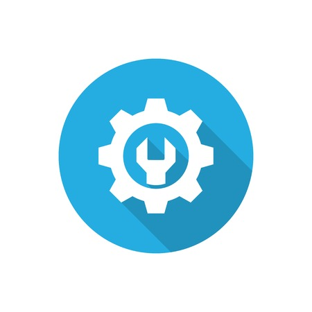 wrench flat icon with long shadow.