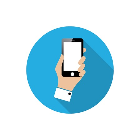 multitask: smartphone in hand. flat icon with long shadow. vector eps10 Illustration
