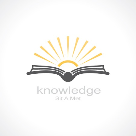 studying: knowledge symbol. open book and sun. template logo design. vector eps8