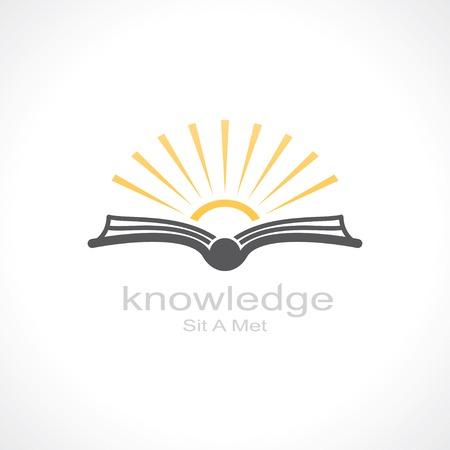 słońce: Symbol wiedzy. otwarta książka i słoneczny. szablon projektowanie logo. wektor eps8 Ilustracja