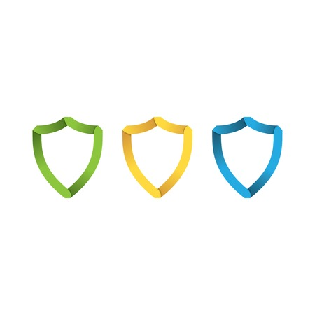 security company: paper colorder shields in the style of origami. vector eps10
