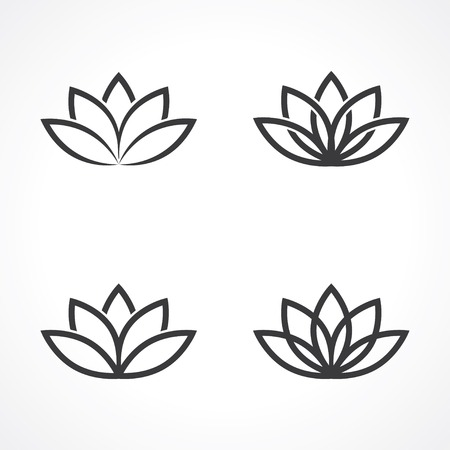 silhouette fleur: symboles de lotus abstraites.