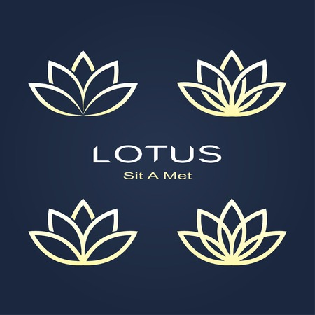 golden lotus symbols on dark background.  Vector