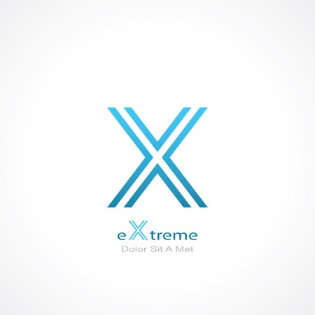 letter x: abstract symbol of letter x.