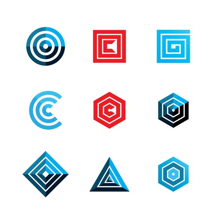 c design: abstract geometric shapes. template logo design. vector eps8