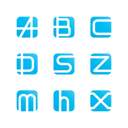 set of abstract symbols letters a, b, c, d, s, z, m, h, x.    Vector