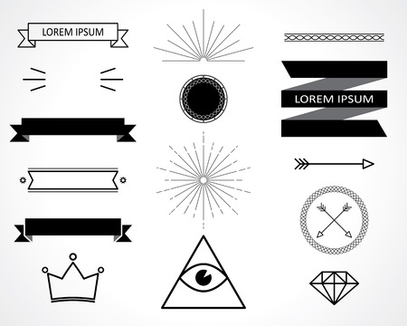 retro design elements. vector set. eps 8 Çizim