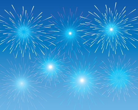 explosions of colorful fireworks in the blue sky Vector