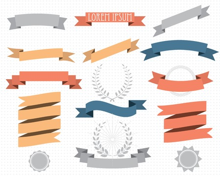 retro design elements with ribbons, labels and wreaths. vector set. eps 8 Illustration