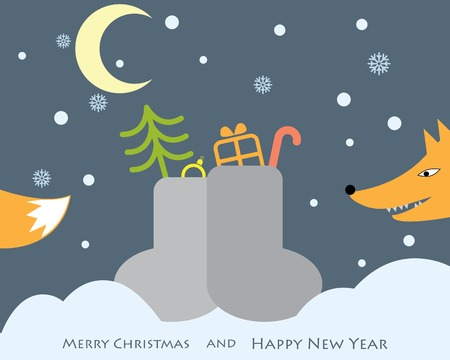 night scene with the funny fox and Christmas gifts in boots. vector background Vector