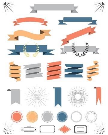 ribbon tape: retro vintage elements vector set with ribbons, labels, badges