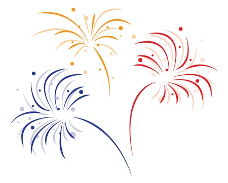 new year celebration: colored bursting fireworks on white background