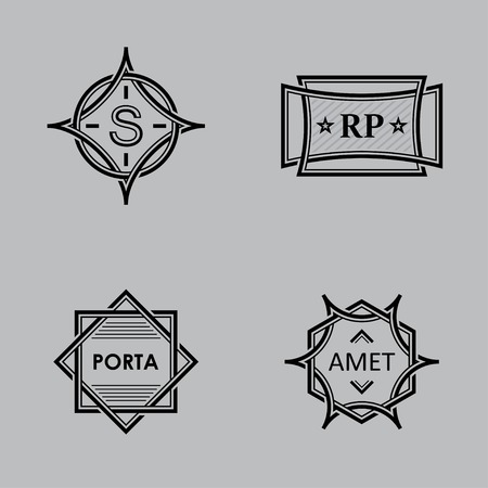 black monograms on a gray background Vector