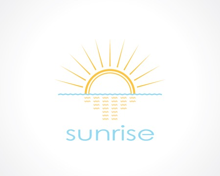 rising above the sea the sun. template logo design 向量圖像
