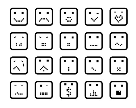 smiling pixel faces in the square. icon set Vector