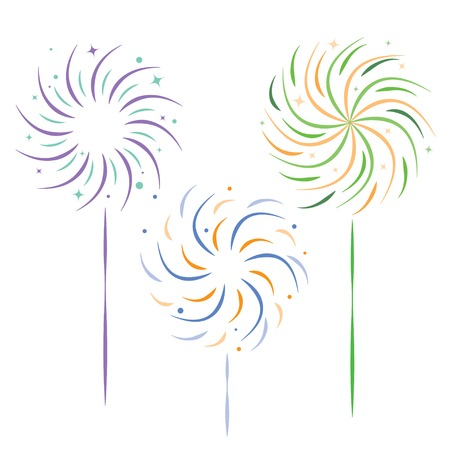 fire cracker: colored festive sparklers on white background