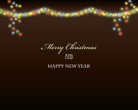 Christmas background with garland lights Vector