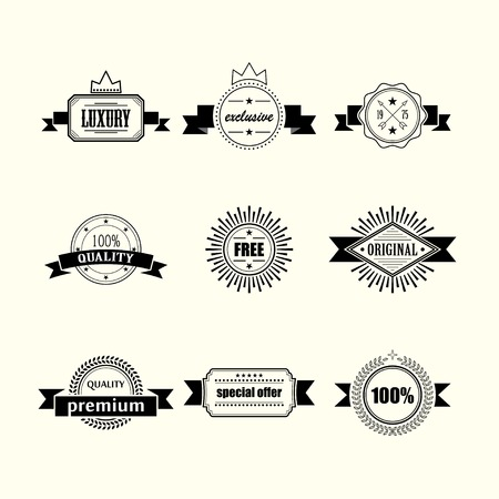 retro badges and labels isolated on white background Vector