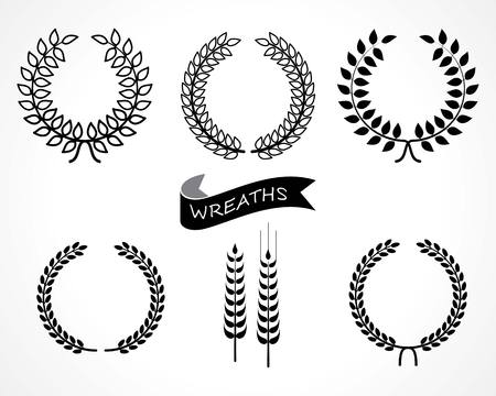wreath of wheat: laurel wreaths set Illustration