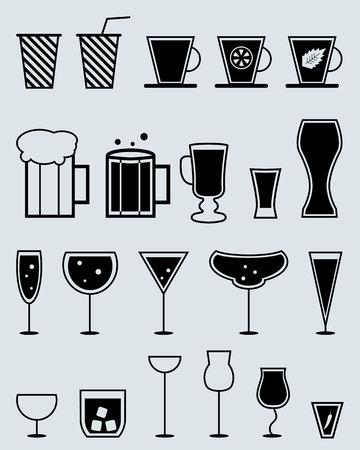 margerita: glasses for drinks. beverages vector silhouette set Illustration