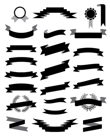 badge icon: ribbons black retro set