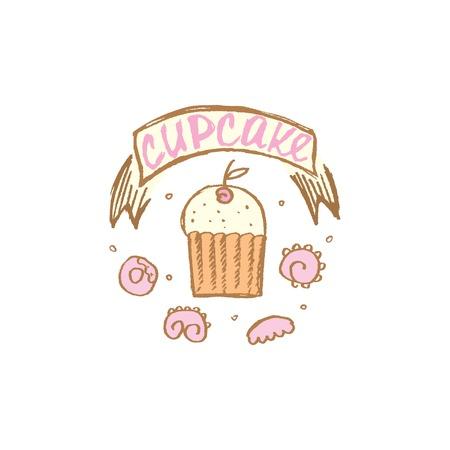 gateau: illustrazione vettoriale di un cupcake