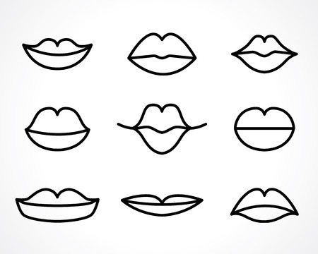 唇に笑みを浮かべて女性の輪郭