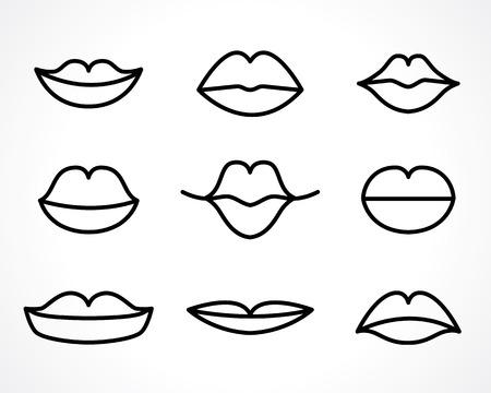 contouren van de vrouw lachend lippen