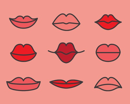 closed mouth: Womens red lips smiling vector set