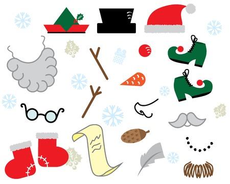 props: Christmas props vector set
