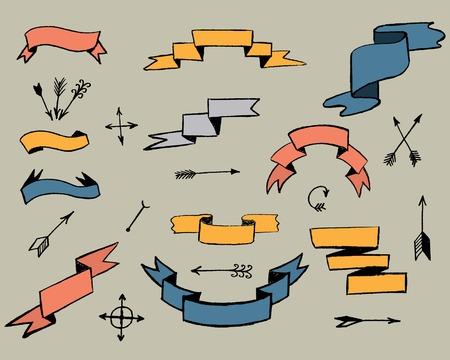 retro design elements: ribbons and arrows. retro design elements