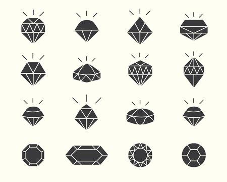 shapes jewelery with diamond design Vector