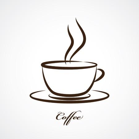 filizanka kawy: filiżanka kawy ikona Ilustracja
