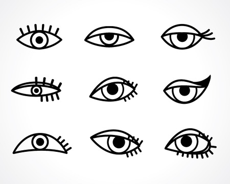 eyes open: eyes icon set Illustration