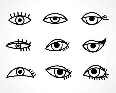 eyes icon set Vettoriali