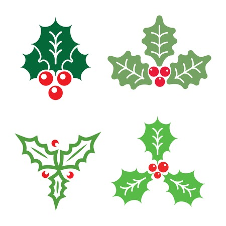 christmas symbol: Christmas holly icons decoration