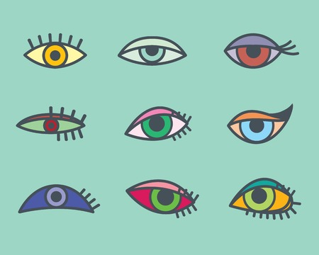 open eye: colored eyes icon Illustration