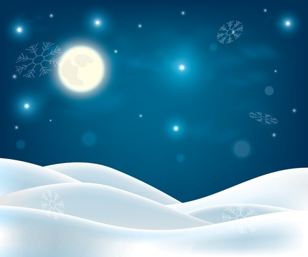 mountain holidays: winter night landscape. Merry Christmas and happy new year background Illustration