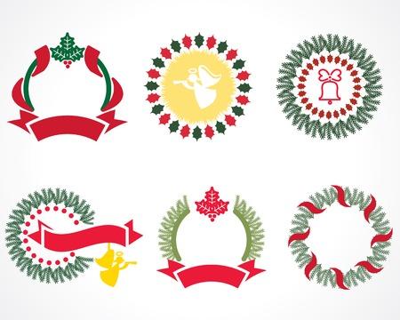 christmas wreaths: christmas wreaths painted Illustration