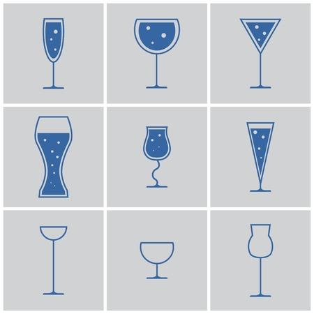 margerita: drink glasses icons. cocktail, wine, beer Illustration